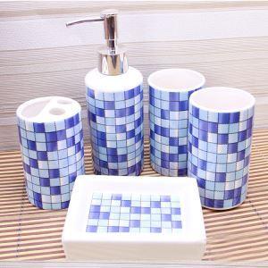 (Entrepôt UE) Mosaïque Céramique Créative Résine Kit de Lavage de Bain d'ensemble 5 Pièces Accessoires de Salle de Bain