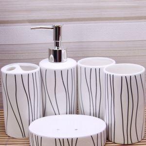 (Entrepôt UE) Moderne Simple ligne Céramique Créative Résine Kit de Lavage de Bain d'ensemble 5 Pièces Accessoires de Salle de Bain