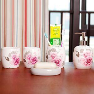 Style de Jardin Européen Rose Céramique Créative Résine Kit de Lavage de Bain d'ensemble 5 Pièces Accessoires de Salle de Bain