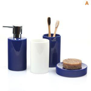 (Entrepôt UE) Moderne Cylindrique Céramique Créative Résine Kit de Lavage 4 Pièces Accessoires de Salle de Bain