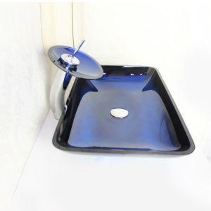 (Entrepôt UE) lavabo Moderne Rectangulaire en Verre Trempé Robinet lavabo forme de cascade égouttoir bague de montage
