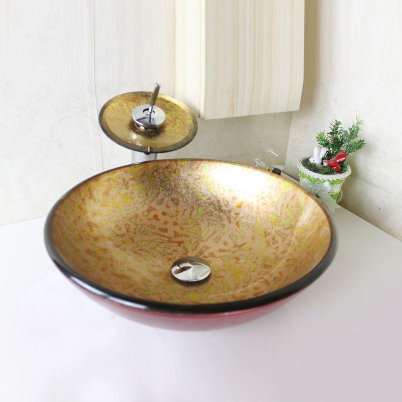 lavabo en verre tremp rond avec robinet cascade pour salle de bains. Black Bedroom Furniture Sets. Home Design Ideas