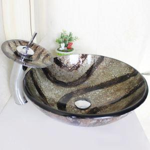 (Entrepôt UE) Lavabo de salle de bain avec robinet moderne rond en verre trempé évier égouttoir bague de montage