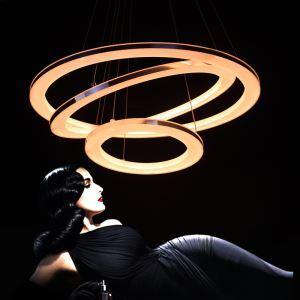 LED 3 Anneaux Lustre Suspension en forme d'anneau Moderne Simple Acrylique Salon Chambre à coucher