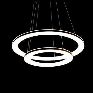(Entrepôt UE) LED 2 Têtes Lustre Suspension en forme d'anneau Moderne Simple Acrylique Salon Chambre à coucher