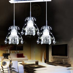 (Entrepôt UE) Moderne Simple Salon Chambre à coucher LED 3 Têtes Lustre Suspension Crystal