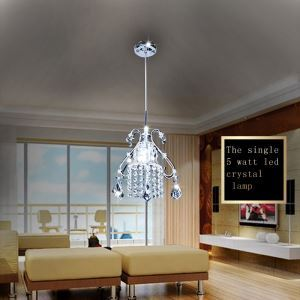 (Entrepôt UE) Moderne Simple Salon Chambre à coucher LED 1 Têtes Lustre Suspension Cristal