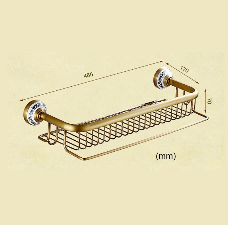 Style européen rétro accessoires salle de bain en cuivre Etagères deux modèles