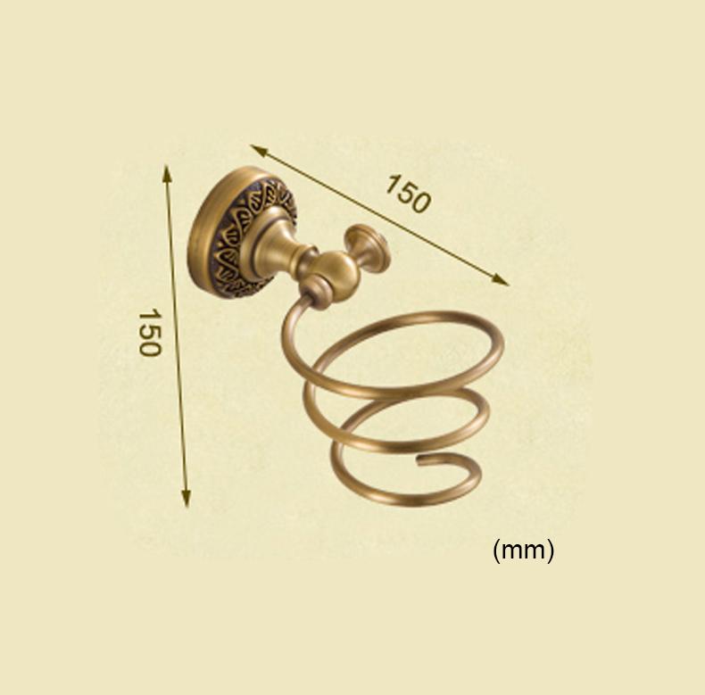 Style européen rétro accessoires salle de bain en cuivre porte-sèche-cheveux