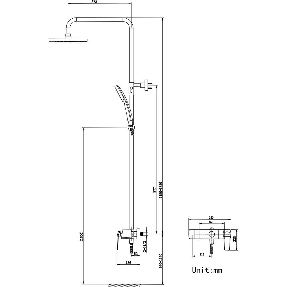 (Entrepôt UE)Mitigeur Robinet de douche noir pour salle de bains style rétro européen pomme de douche carré fixé au mur 3 trous poignée d'or