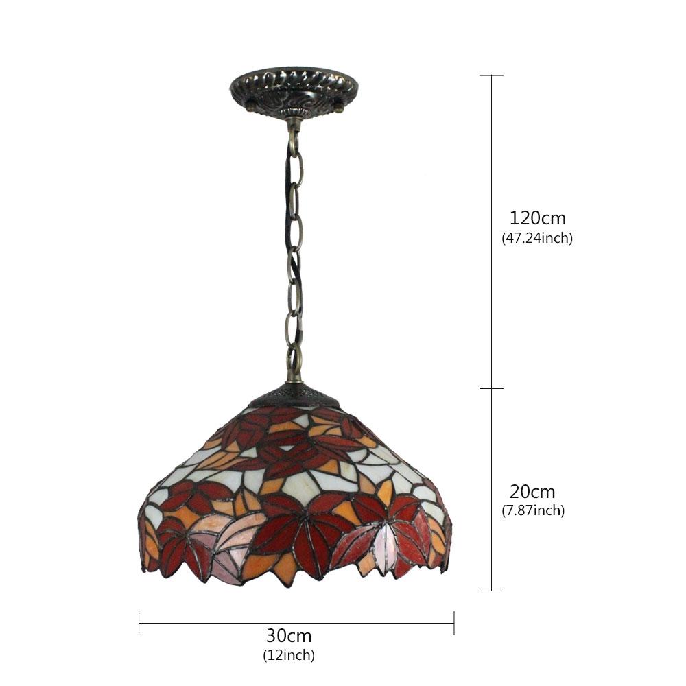 (Entrepôt UE)12inch Lustre style Pastoral Européen Rétro Suspension abat-jour en verre à motif feuille d'érable rouge luminaire pour chambre salon cuisine chambre