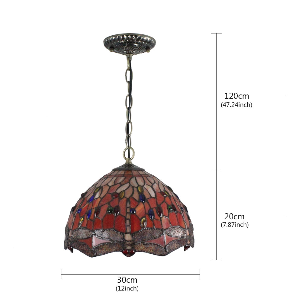 (Entrepôt UE)12inch Lustre style Pastoral Européen Rétro Suspension abat-jour à motif libellule en verre luminaire pour chambre salon cuisine chambre