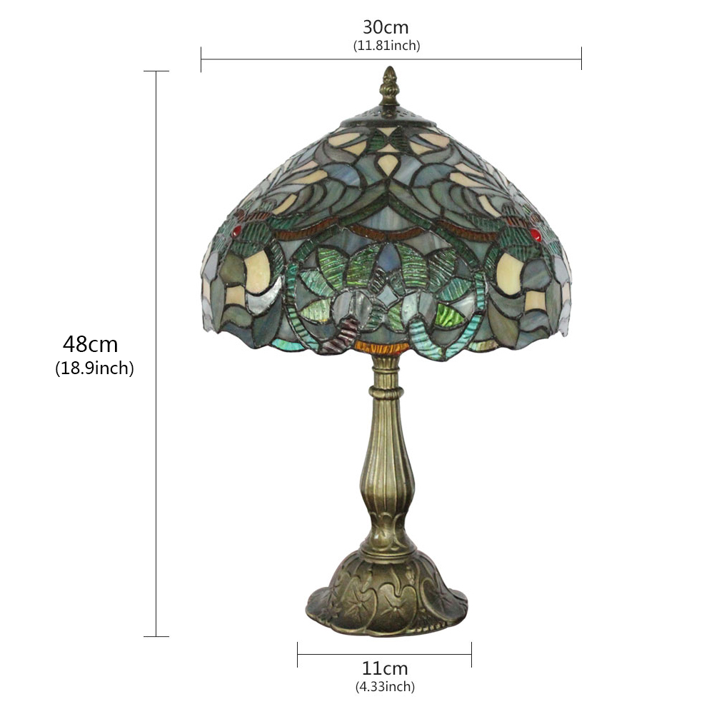 lampe poser en verre tiffany pour chevet table en verre d30 h48cm plante luminaire pour salon. Black Bedroom Furniture Sets. Home Design Ideas