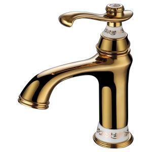 (Entrepôt UE) Robinet de lavabo pour salle de bain Moderne Trou unique Poignée unique Ti-PVD