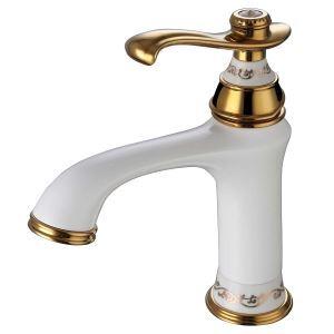 (Entrepôt UE) Robinet de lavabo pour salle de bain Moderne Trou unique Poignée unique peinture blanche Ti-PVD