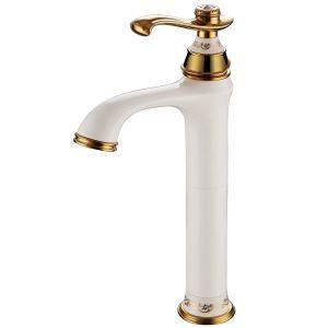 (Entrepôt UE) Moderne Trou unique Poignée unique peinture blanche Ti-PVD robinet des lavabo