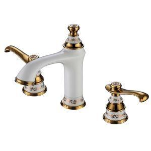 (Entrepôt UE) Moderne Trois trous deux poignées peinture blanche Ti-PVD robinet de lavabo