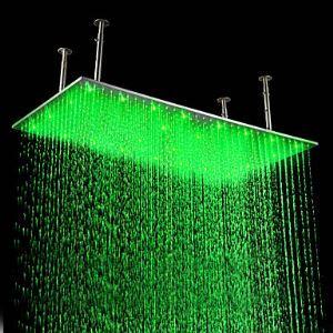Pomme haute rectangulaire L.50 x l.99 cm LED chrmé en acier luxe pour salle de bains