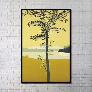 """Art contemporain arbre Peinture au pistolet numérique+Peints à la main cadre noir Taille24""""X36"""""""
