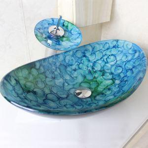 Vasque en verre trempé en forme de lingot d'or avec robinet cascade pour salle de bains