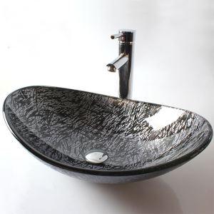 Vasque à poser verre trempé feuille L 54 cm pour salle de bains toilettes