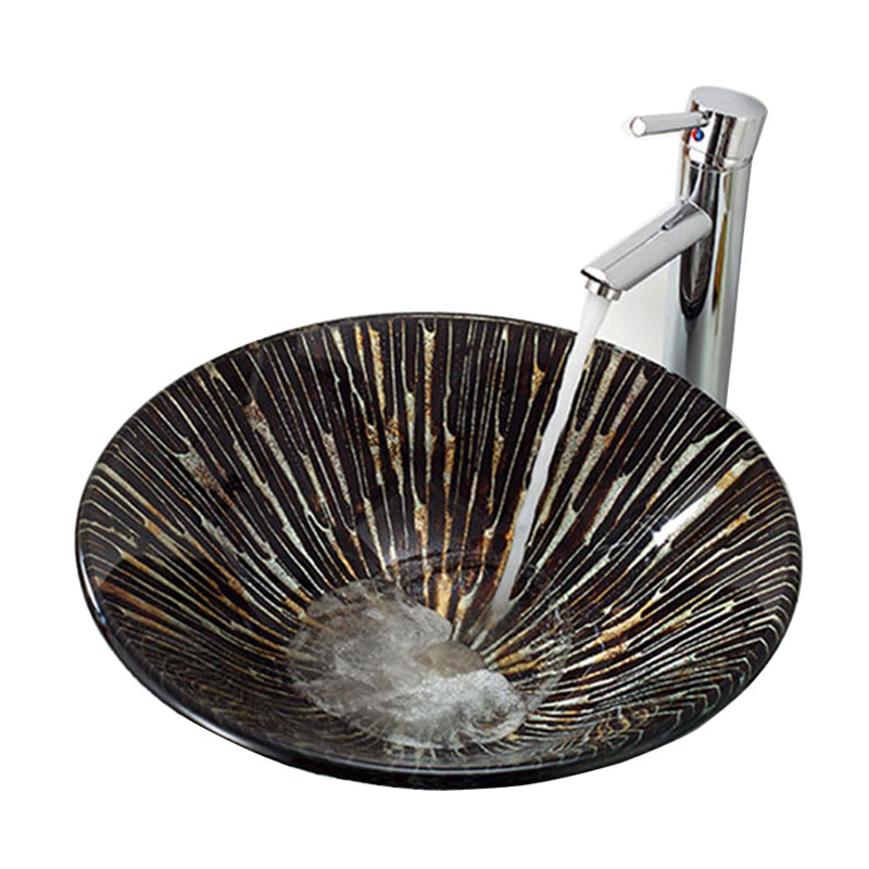 Vasque A Poser Verre Trempe Forme De Champignon Rond Pour