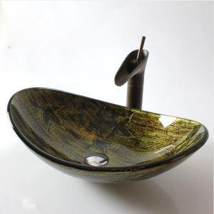 Vasque à poser verre trempé rétro forme de lingot d'or pour salle de bains