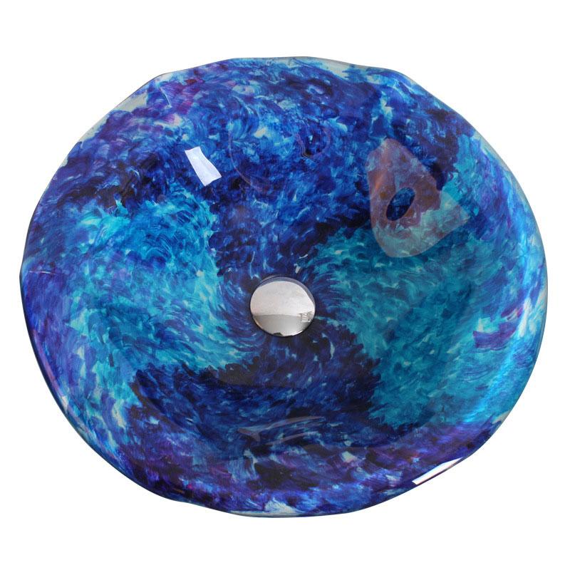 Vasque à poser verre trempé méditerranée bleu rond pour salle de bains