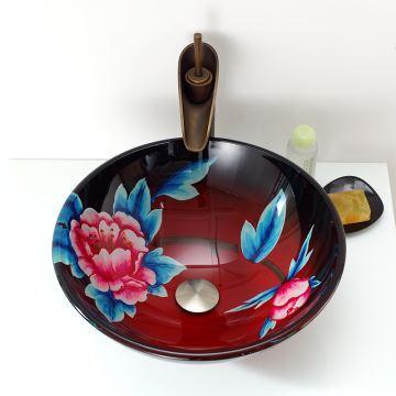 Vasque à poser verre trempé peint à la main fleur du prunier rouge ...