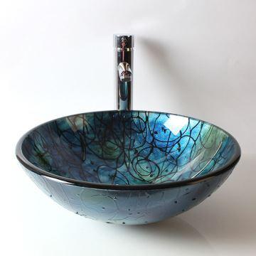 Vasque à poser verre trempé grand rond pour salle de bains toilettes