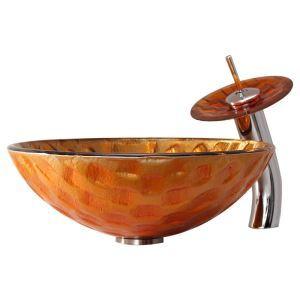 Vasque à poser verre trempé rond de luxe robinet cascade pour salle de bains toilettes