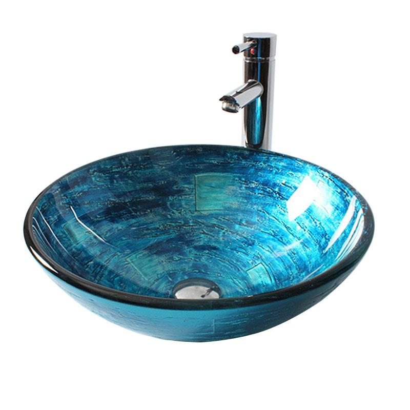Vasque à poser verre trempé sculpture coloré rond pour salle de bains  toilettes