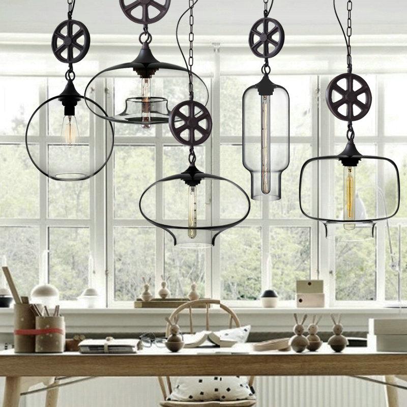 Suspension en verre style industriel pour cuisine