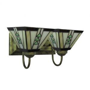 Vintage Tiffany Style Bronze Finition Lampe pour salle de bain avec Deux abat-jours pour salle de bain bar