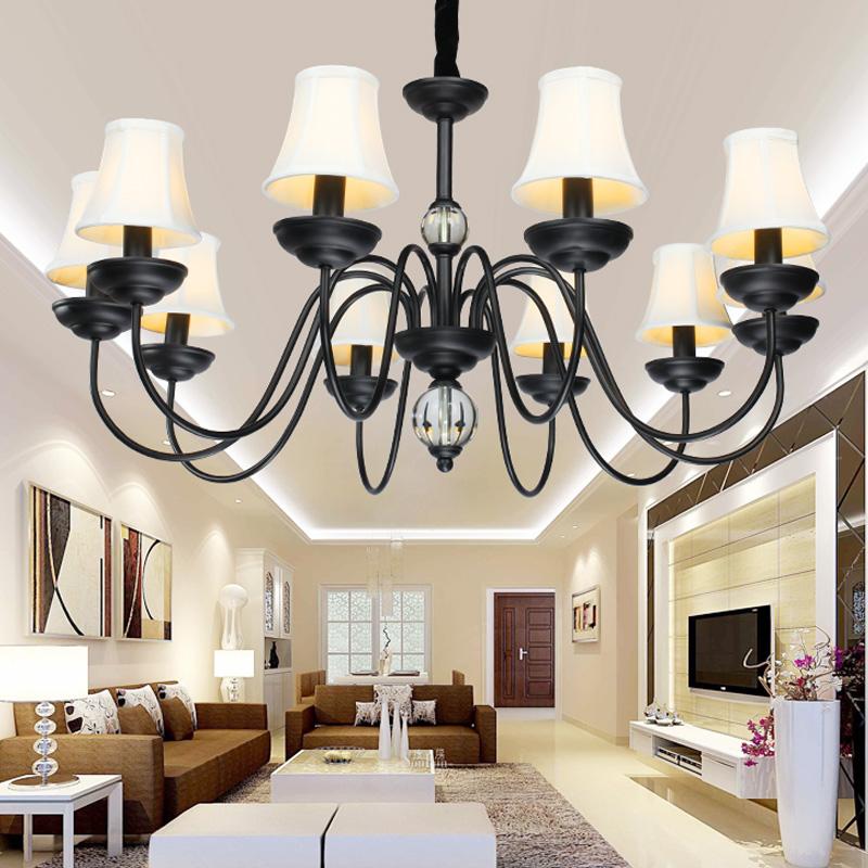 Entrepôt UE)Style moderne américain Lustre noir 10 lumières ...