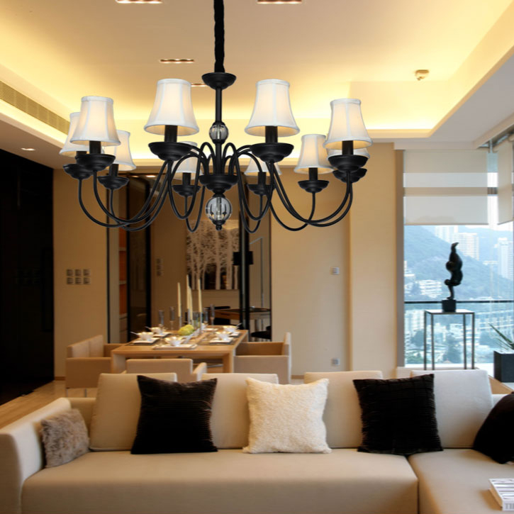 (Entrepôt UE)Style Moderne Américain Lustre Noir 10 Lumières Abat Jour En  Tissu Luminaire Pour Salon Cuisine Chambre Hôtel