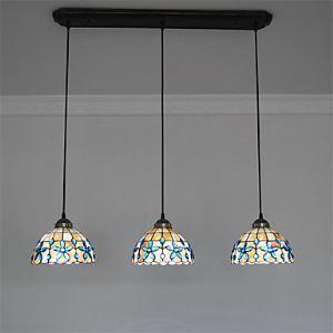 (Entrepôt UE) 8 inch 3-lampes Rétro Tiffany Pendentif Lampes Lustre Abat-jour coquille Salle Salle à manger Lampe