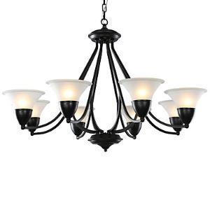 (Entrepôt UE) 8 Lampe 37 inch Plafonnier Lampe, Noir