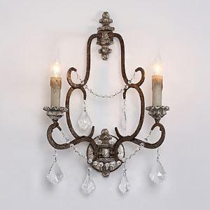 Applique murale 2 lampess cristal avec support en bois Luminaire