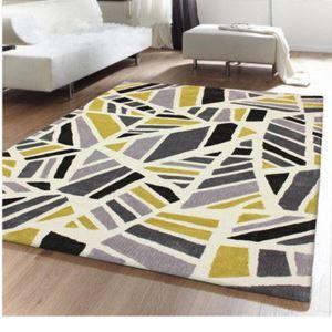 (Entrepôt UE) Simple Mode treillis géométriqueOrange Canapé salon table basse chambre chevet tapis de tapis faits à la main en acrylique
