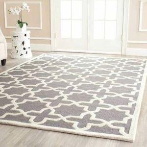 (Entrepôt UE) Simple Mode treillis géométrique Gris Canapé salon table basse chambre chevet tapis de tapis faits à la main en acrylique