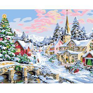 Moderne simple DIY peinture à l'huile peinte à la main neige de Noël peinture décorative 40*50
