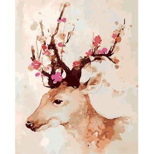 Moderne simple DIY peinture à l'huile peinte à la main Cerf Sika peinture décorative 40*50