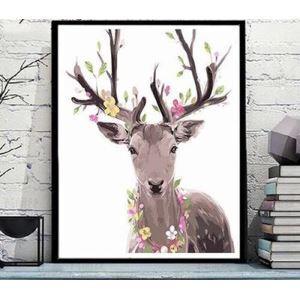Moderne simple DIY peinture à l'huile peinte à la main dessin animé Cerf Sika peinture décorative 40*50