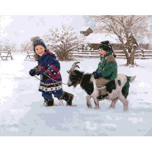 Moderne simple DIY peinture à l'huile peinte à la main De plein air Noël neige Enfants & Chèvre peinture décorative 40*50