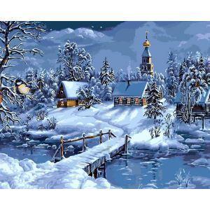 Moderne simple DIY peinture à l'huile peinte à la main Cabine de Noël de nuit peinture décorative 40*50