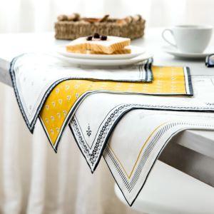 (Entrepôt UE)Set de table en lin mat en tissu pad d'isolation tissu créatif napperon repas Bol dessous de verre occidental Lot de 4