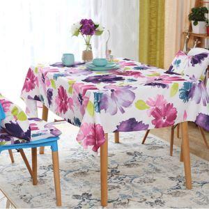 Fleurs encre indélébile rurale Tissu rectangle arrondi nappe de table basse de linge de table