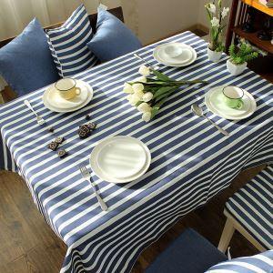 (Entrepôt UE) Méditerranéen Bleu-gris Frais nappe de table coton rayure basse en tissu Moderne simple rayure