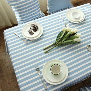 (Entrepôt UE) Méditerranéen Bleu-gris Frais nappe de table coton rayure basse nappes en tissu Moderne simple